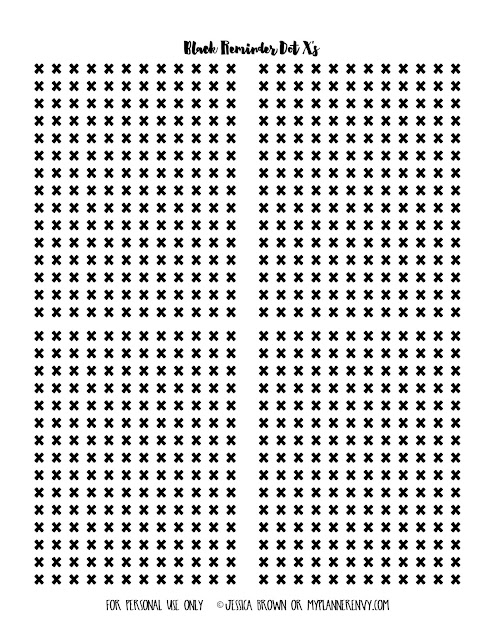 Free Printable Black Reminder Dot X's from myplannerenvy.com