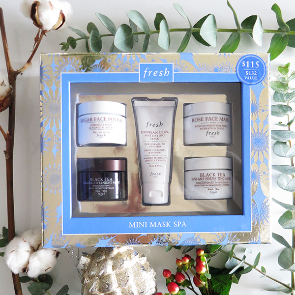 Fresh Mini Mask Spa boxed holiday 2016 gift set featuring: Sugar Face Polish, Black Tea Firming Overnight Mask, Umbrian Clay Mattifying Mask, Rose Face Mask, Black Tea Instant Perfecting Mask