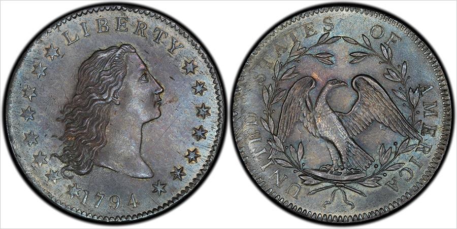 Монета серебряный доллар с распущенными волосами