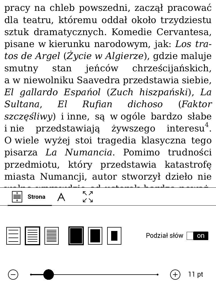 PocketBook Touch Lux 4 – ustawienia czcionki i układu tekstu