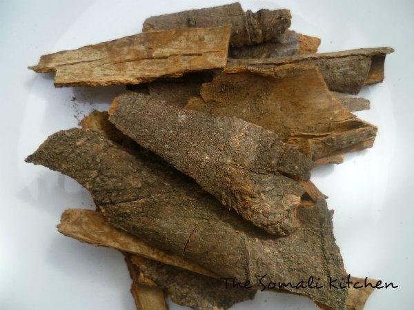 Cinnamon (qorfe or qorfo dhaadher  or qarfiyo hayl  in Somali)