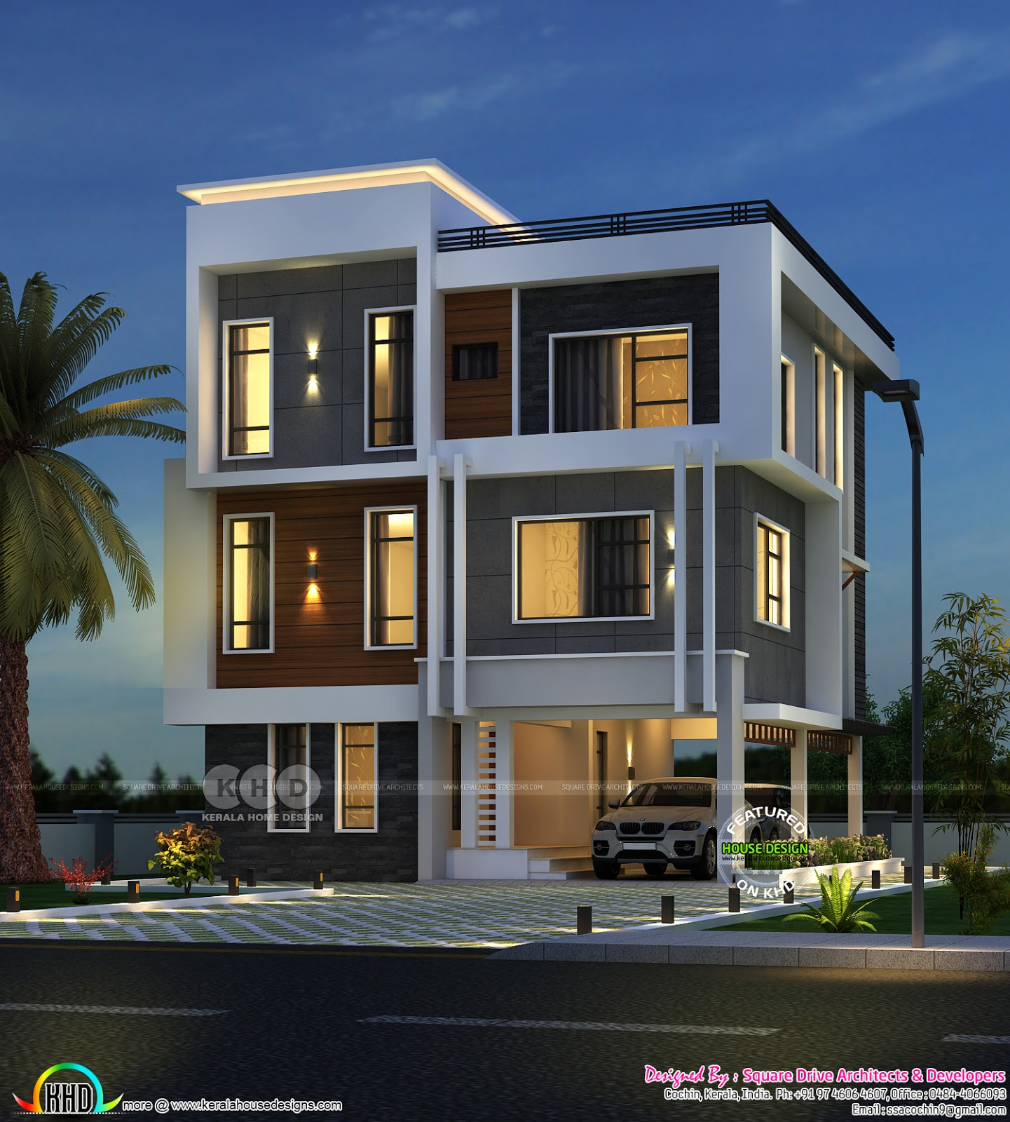Kerala Home Design And Floor: 2652 Square Feet Three Storied House