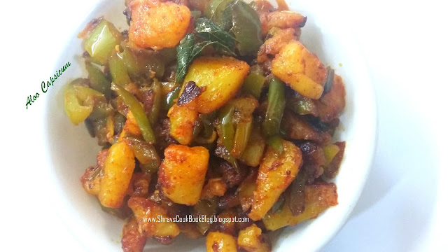 Potato Capsicum - Aloo Sabzi for Chapati