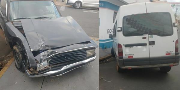 Acidente entre van e carro deixa mulher grávida ferida
