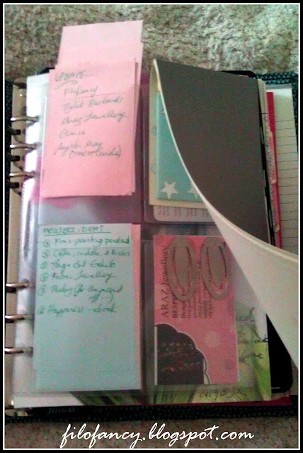 filofax dashboard using card holder