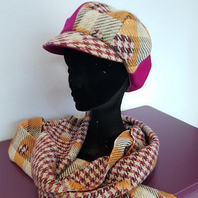 Patouche Chapeaux casquette gavroche feutre de laine et tissu écossais/pois
