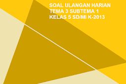 Soal Ulangan Harian Kelas 5 Tema 3 Subtema 1 SD/MI Kurikulum 2013