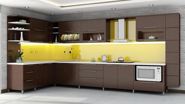 Kính ốp bếp màu vàng chanh tại TPHCM