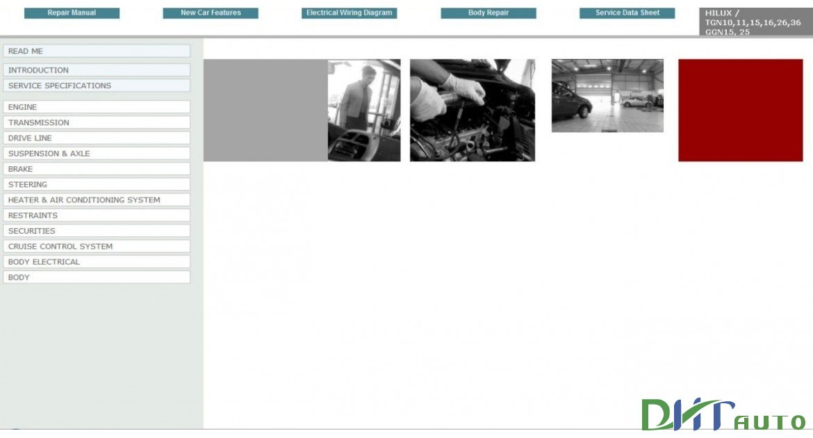 TOYOTA HILUX 2005 - 2011 SERVICE  REPAIR INFORMATION MANUAL