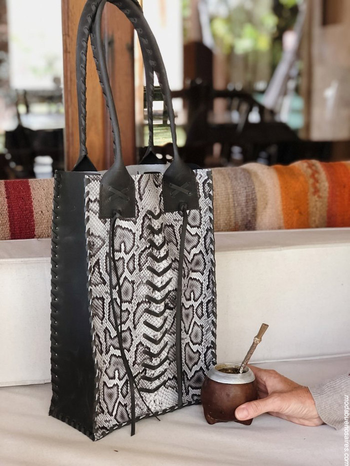 Carteras Materas de cuero moda handmade invierno 2019. Moda handmade argentina. Pelo y cuero 100% argentino.