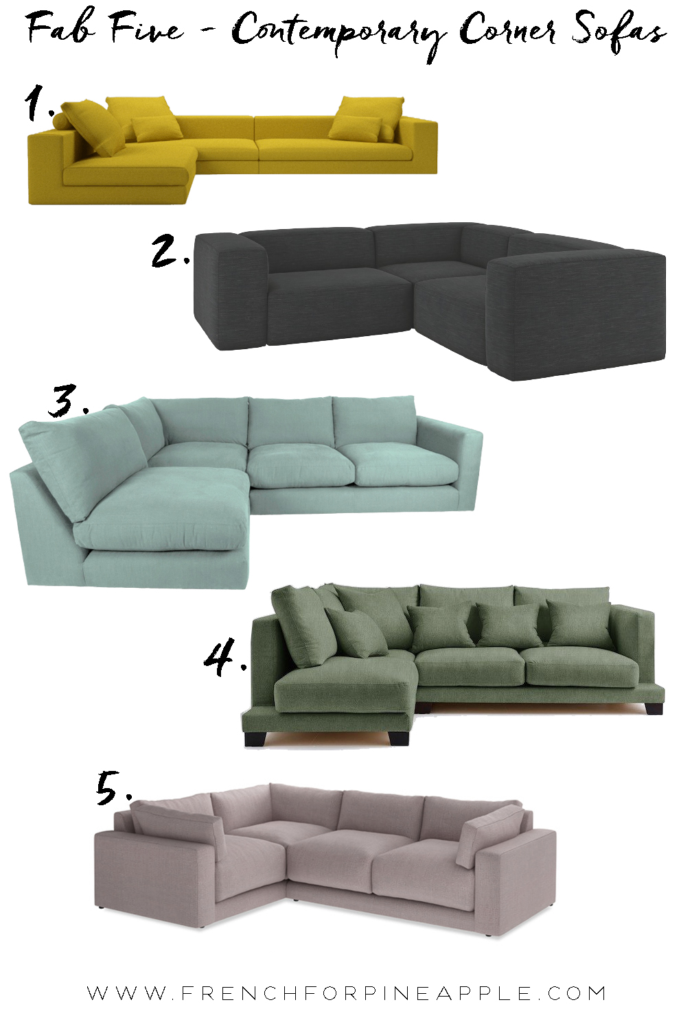 Fab Five Contemporary Sofas - French For Pineapple Blog