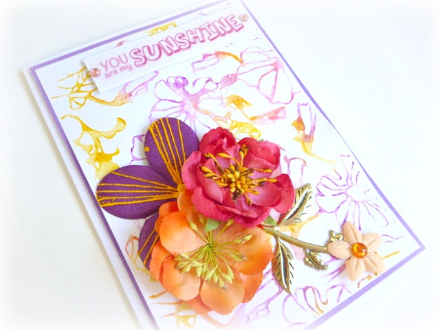 Floral Watercolor Card Created with Gelatos and an Embossing Folder by Dana Tatar