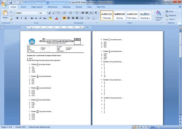 Contoh Soal UTS (PTS) Matematika Kelas 4 SD MI Semester 1 Kurikulum 2013