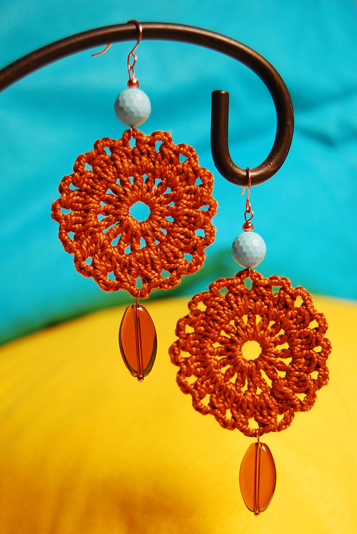 circle crochet earrings