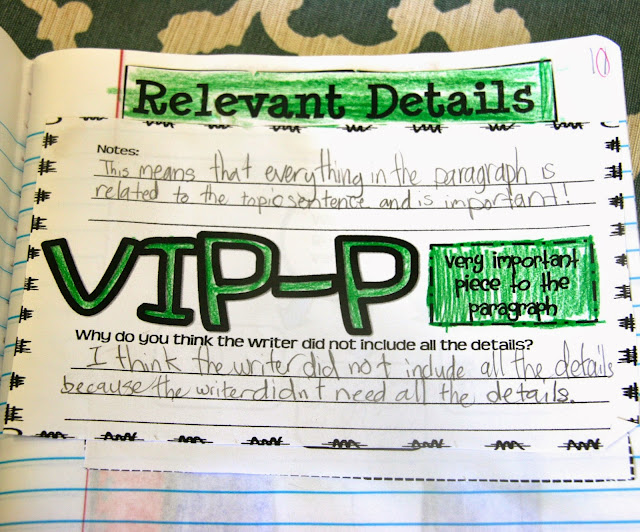 show students how to add relevant details to a paragraph