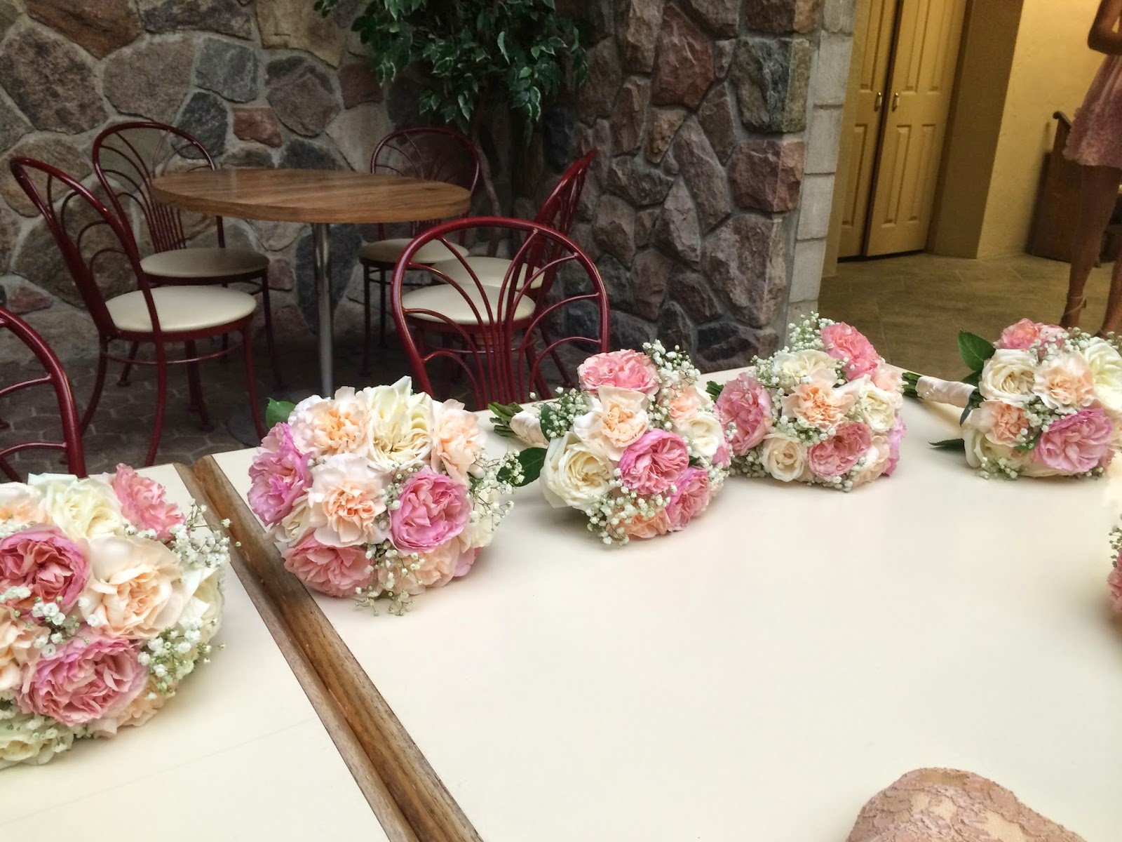 wedding, diy, bridesmaid's bouquets, garden roses, peach, coral, ivory