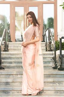 Kajal Agarwal in Pink Saree at Indian 2 Movie Pooja
