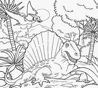 Early Permian period wetland swamp habitat sail backed Dimetrodon dinosaur lizard monster colouring