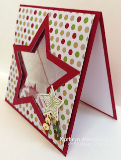 Stampin' Up! Star Framelits Shaker card, Christmas Card by Kathryn Mangelsdorf