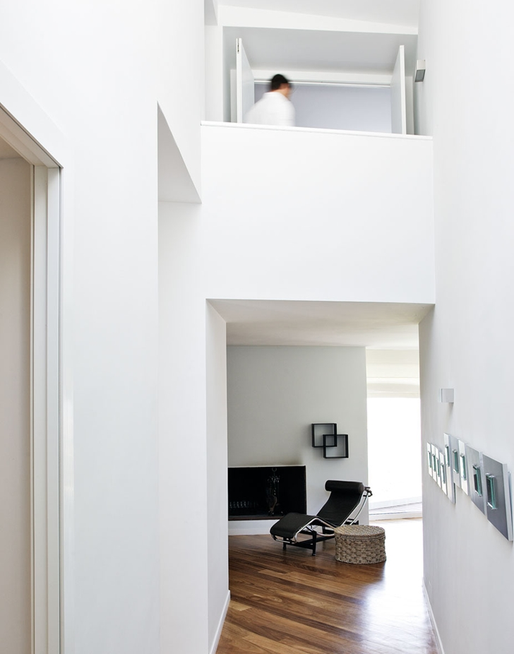 Hallway of Modern home with the craziest floor plan ever