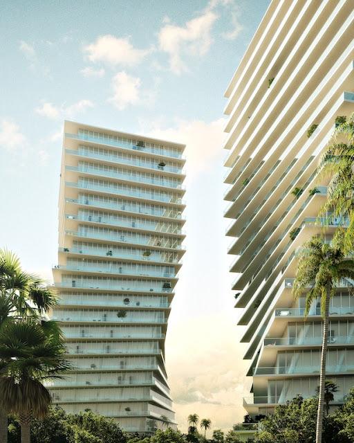 Renderizado de par de construcciones verticales residenciales