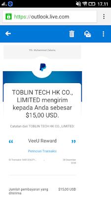 Bukti Pembayaran Uang Gratis Terbaru dari Aplikasi Veeu
