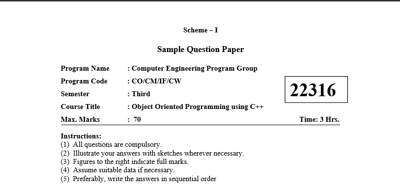 Object Oriented Programming Sample Question Paper 2018-19 Third