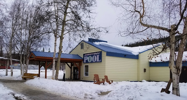 Winter at The pool house in Chena Hot Sprigs Resort