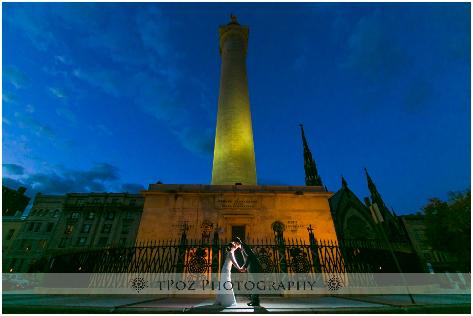 Washington Monument Baltimore Wedding Photo