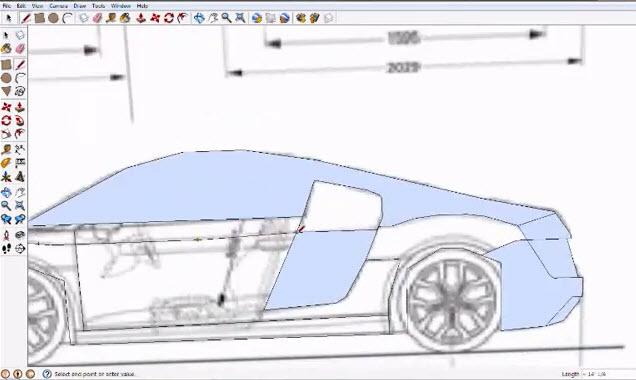 Audi R8 Tracing In Google Sketchup Graphic Cad Draiwng