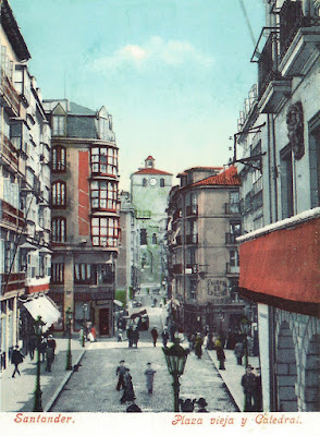 Santander. Plaza Vieja y Catedral. Postal