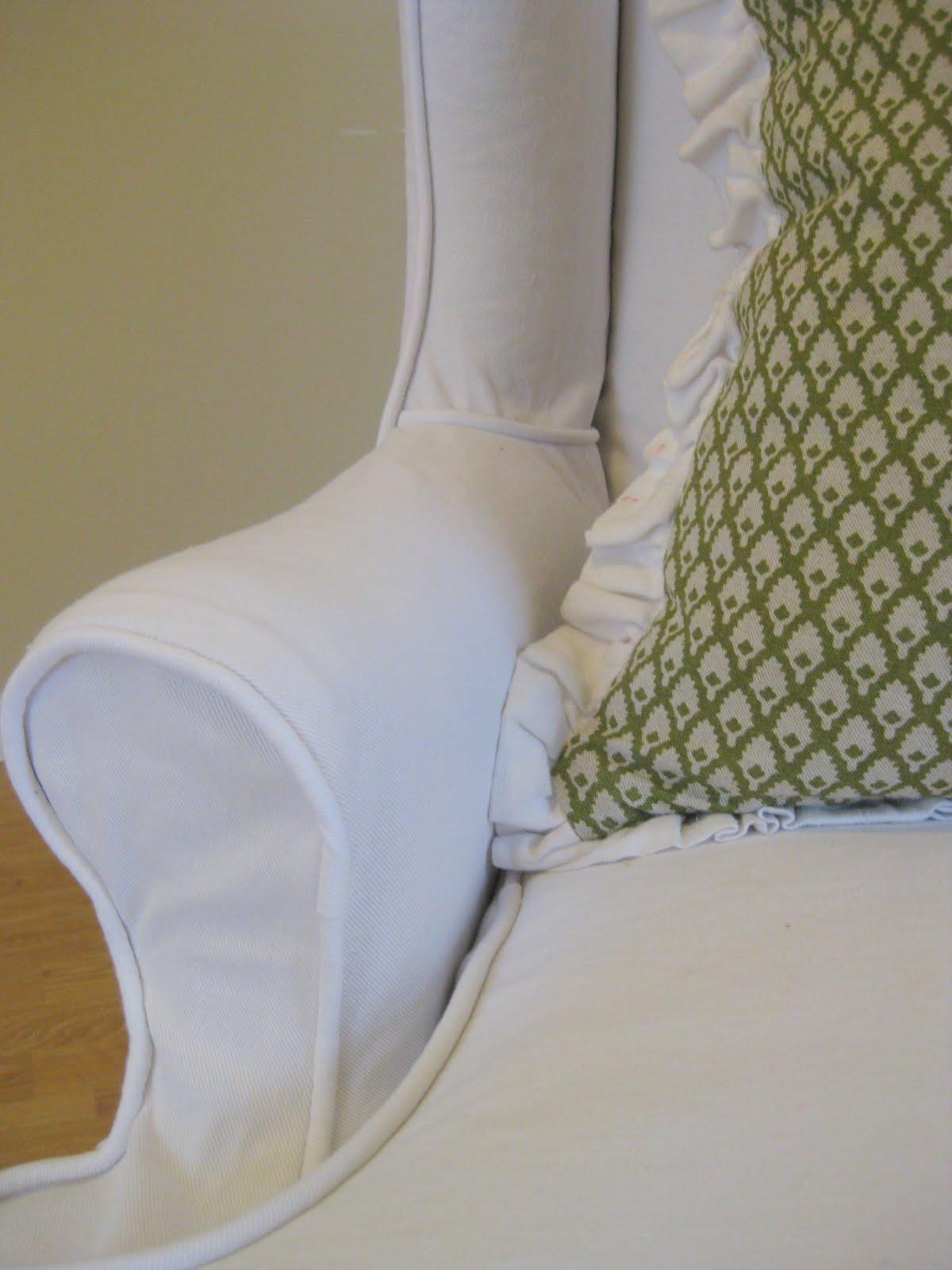 Terrific Custom Slipcovers By Shelley White Denim Wingback Chair Uwap Interior Chair Design Uwaporg