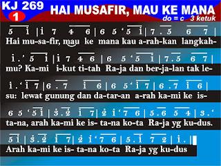 Lirik dan Not Kidung Jemaat 269 Hai Musafir, Mau Ke Mana