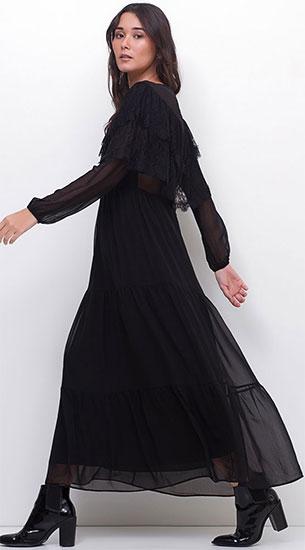 Renner coleção inverno vestido manga longas com babados e rendas