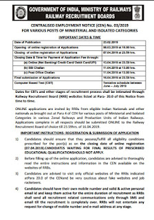 RRB CEN 03/2019 Ministry & Isolated Category Post, Notice Out