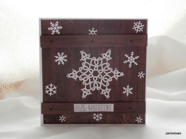 kartka bożonarodzeniowa z frywolitkową śnieżynką