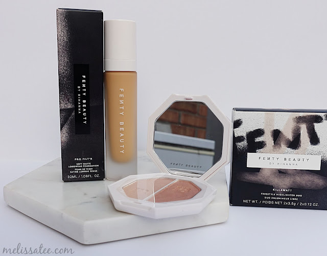 fenty beauty, fenty beauty review, fenty beauty pro filt'r foundation review, fenty beauty shade 250, fenty beauty warm peach foundation, fenty beauty killawatt freestyle highlighter review, fenty beauty mean money and hu$tla baby review and swatches