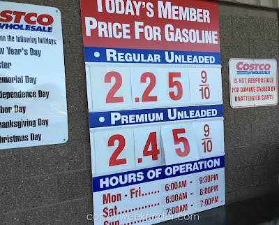 Costco gas for March 24, 2016 at Redwood City, CA