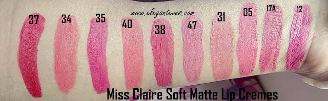 swatches miss claire soft matte lip creams India