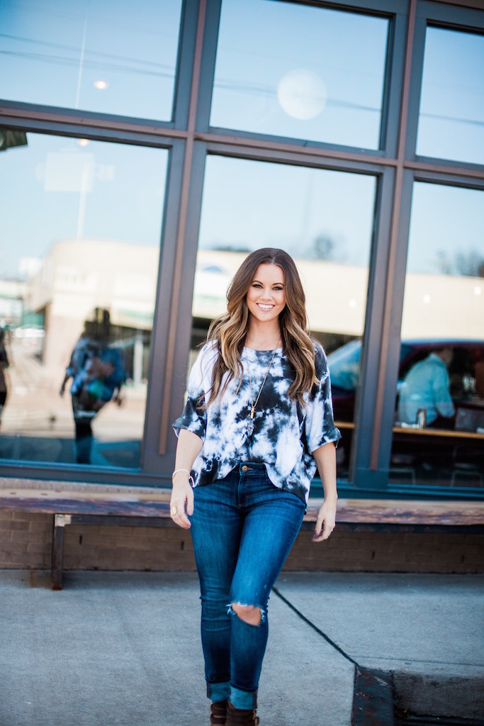 KBStyled: fab'rik tie die dl 1961 denim jeans booties