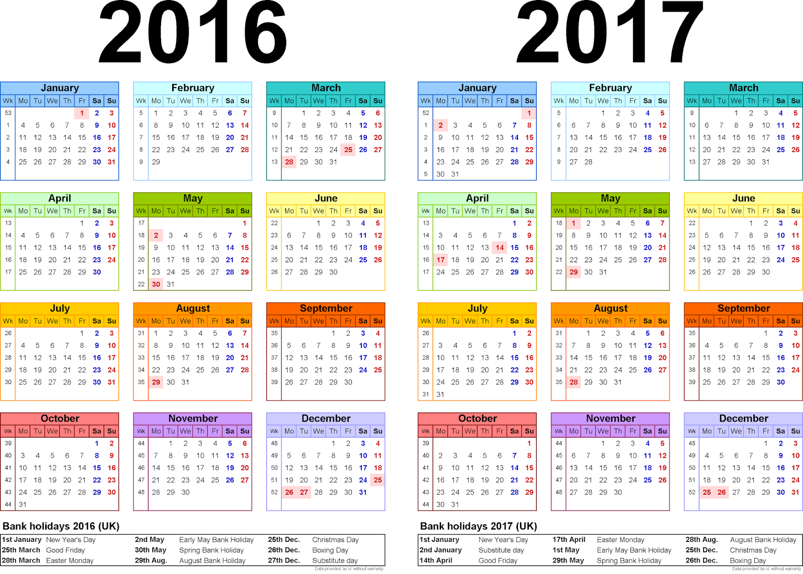 ... year calendars for 2016/17 PDF, Two year calendars for 2016/17 PDF