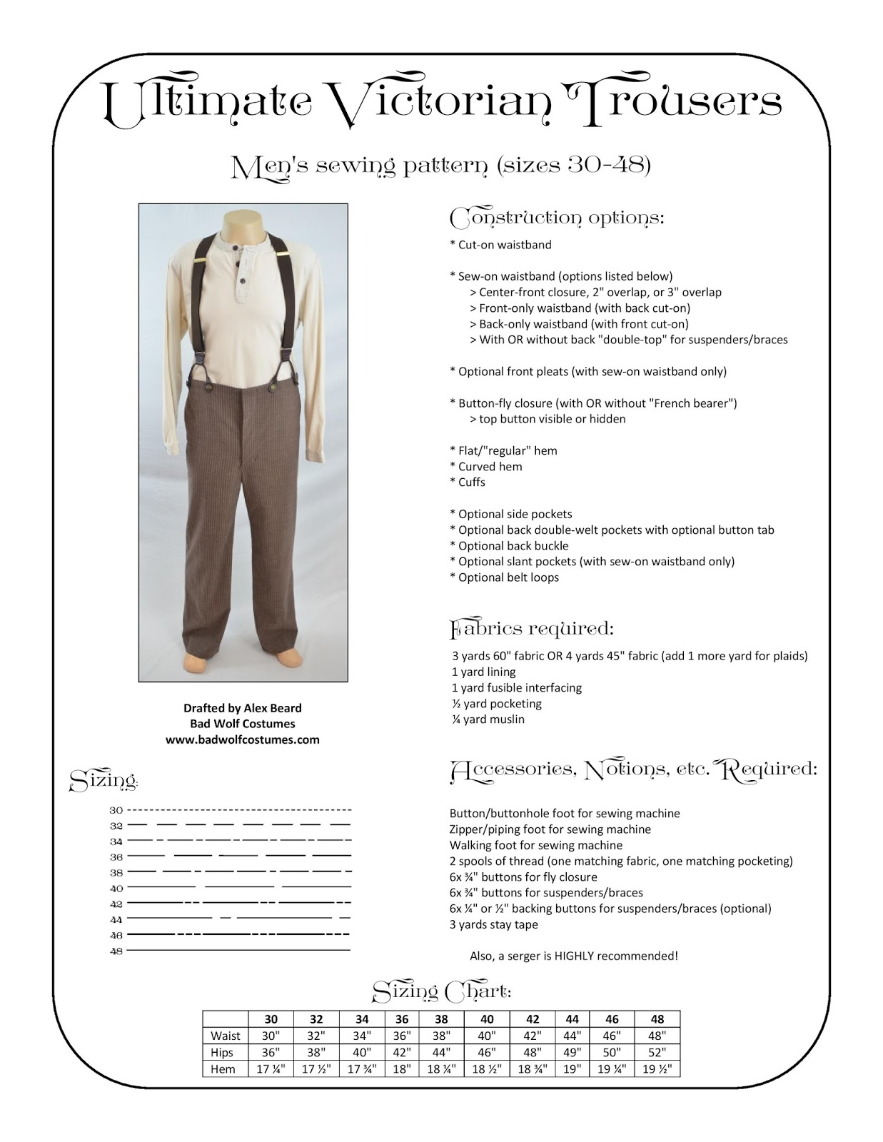 Bad Wolf Costumes: Ultimate Victorian Trousers Sewing Pattern
