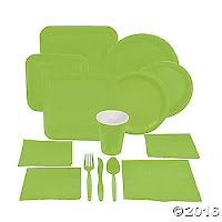 green paper party supplies