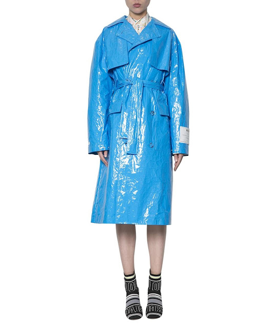 BLUE VINYL DOUBLE-BREASTED TRENCH COAT