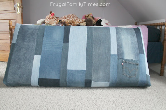 denim diy window seat cushion