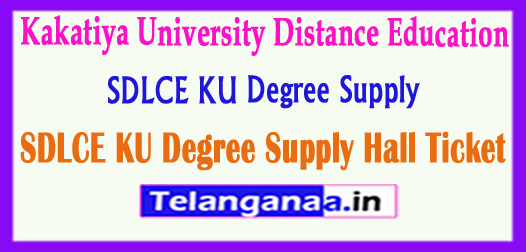 SDLCE KU Degree Supply Hall Ticket 2017 Download