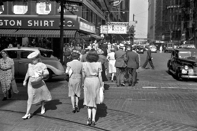 1940 photo of a busy public scene