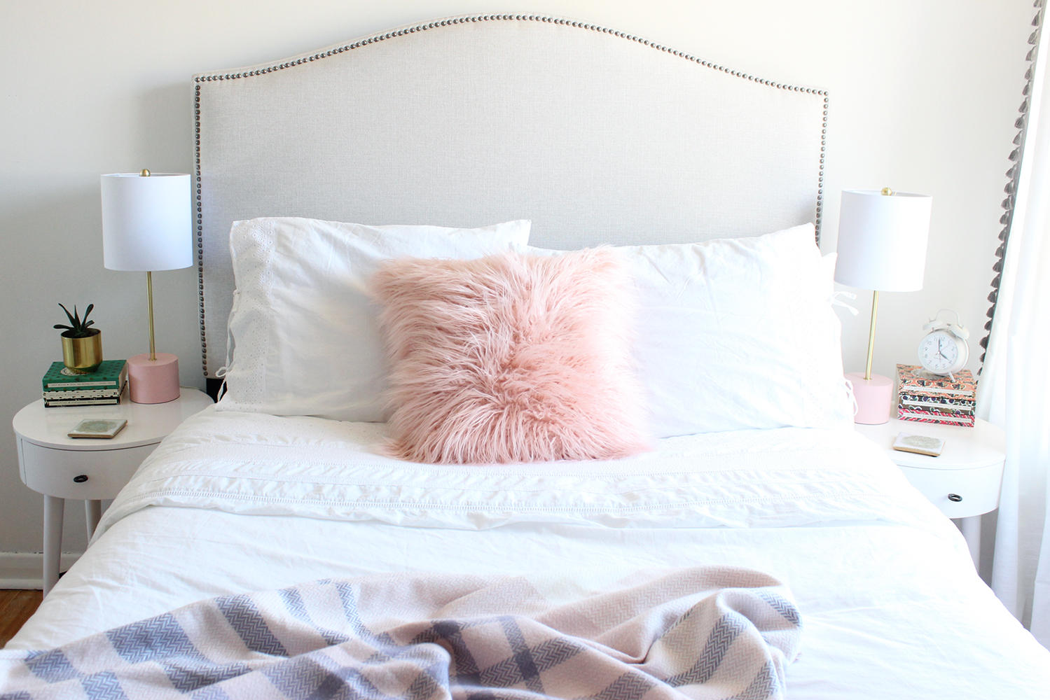 Wayfair, bedroom, west elm, H&M home, new furniture, bedroom reveal, headboard, cupcakes and cashmere