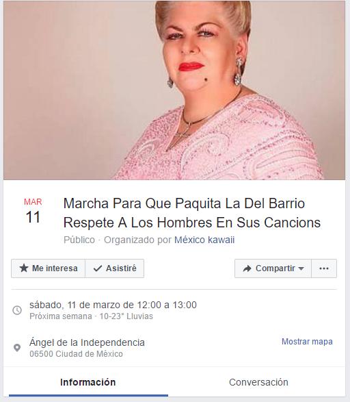 Invitan a marcha en Facebook contra Paquita la del Barrio
