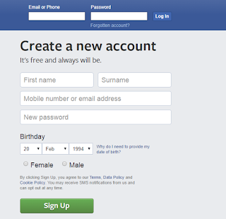 Login page, Create a Facebook Page